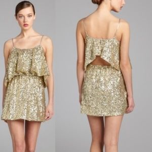 Lovers + Friends Gold Sequin Open Back Mini Dress